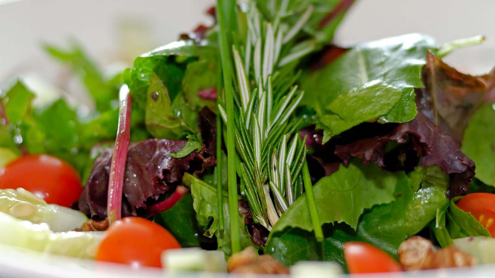 We offer fresh salads and several vegetarian options.